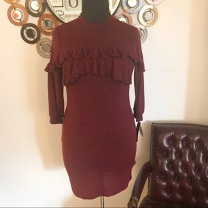 ING maroon sweater dress with ruffled bust